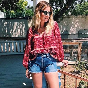 Boho Hippie Long Sleeve Shirt Blouse Bell Lace up V-neck Women Shirts Top Crimson Wisteria Print Blouses Blusas