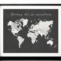 Chalkboard quote print, chalkboard world map with countries, distressed travel art, adventure quote print, chalkboard map pdf -map020