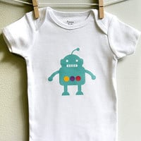 Baby boy Onesuit, robot, teal blue. Short sleeve. Your choice of size.