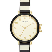 black and cream stripe silicone park row watch | Kate Spade New York