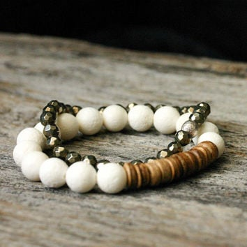 Pyrite Bead Bracelet with Sterling Silver Brushed Focal - Fools Gold Stacking compliments white metallic golden romantic