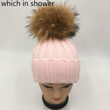 which in shower Children girl real fur raccoon pompon knit hat cap winter warm crochet beanie with fur pom-poms ball kids bonnet