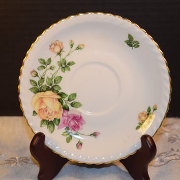 Franconia Krauheim Rose Garden Saucer Vintage Rose Garden Saucer Plate Discontinued China Replacement Holiday Dinnerware Shabby Chic Dishes