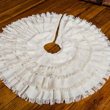 Creme Fringed Burlap Mini Tree Skirt