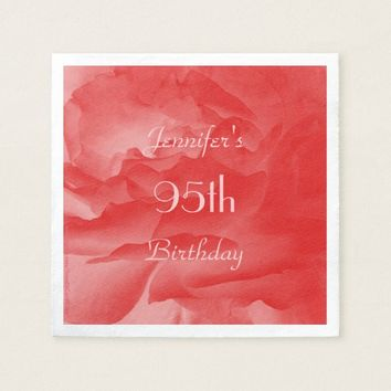 Coral Pink Rose Paper Napkins, 95th Birthday Paper Napkin