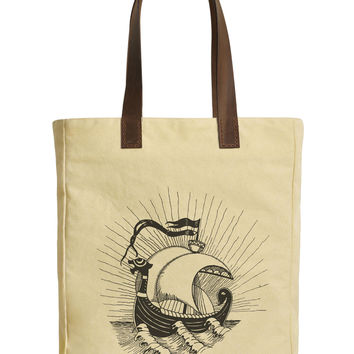 Women Viking Ship Beige Printed Canvas Tote Bags Leather Handles WAS_30