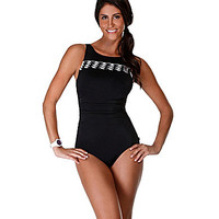 Reebok Pretty Pleatz Tank One Piece Swimsuit - Black/White