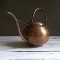 Rustic Copper Watering Can/ Copper Kettle/ Copper Home Decor/ Copper Watering Can