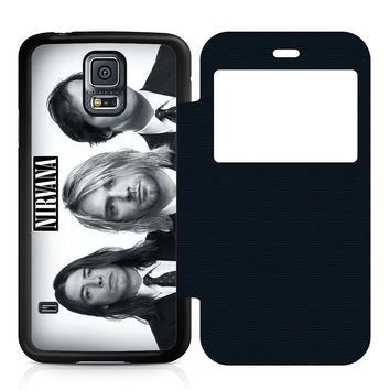 Nirvana Band Leather Wallet Flip Case Samsung Galaxy S5