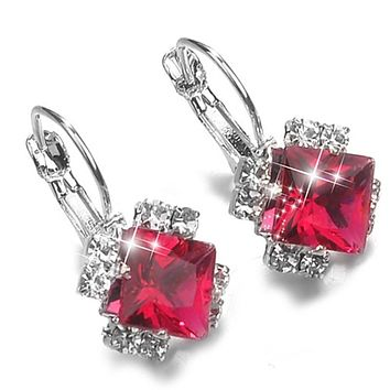 Fashion Stone Rhinestones White Red Square Crystal Drop Earrings For Women Statement Wedding Jewelry Pendientes Mujer