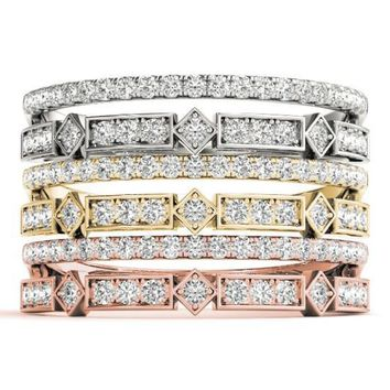 Stackables 1/2 Eternity Tri-Tone Gold Micro-Pave & Bezel-Set Diamond Split Shank 3-Band Set