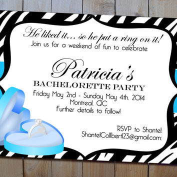 Bachelorette Party Invitation - Printable Bling Ring Bachelorette/Stagette or Bridal Shower Invitation - Choose Your Colours - SALE