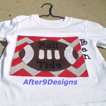 Football Chevron Applique Shirt Alabama or other teams available