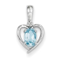 14k White Gold Genuine Oval Blue Topaz and Diamond Heart Pendant