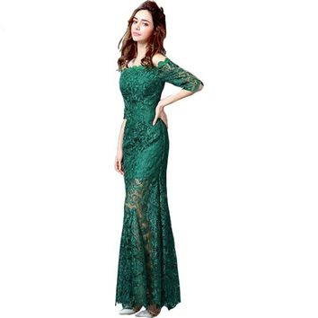 Green Lace Evening Dresses Half Sleeves Off the Shoulder Long Mother of the Bride Dress Prom Gowns