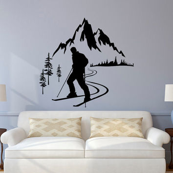 Skier Wall Decal, Winter Sports Wall Decals, Mountain Wall Decal, Skiing Sports  Wall