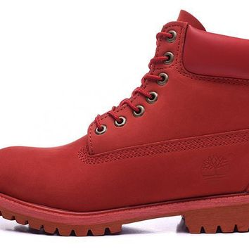 PEAPON Timberland Rhubarb Boots 10061 High Tops Red Shoes Waterproof Martin Boots