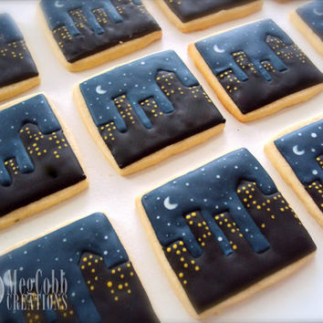 Night Time City Scape Sugar Cookies, super hero, city, night, evening, dusk, stars, starry night, Gotham, Batman, vanilla almond, cookies