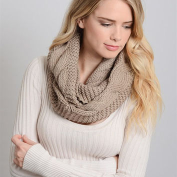 Dual Texture Cable Knit Infinity Scarf - Mocha