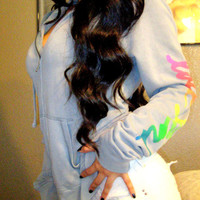 Victoria's Secret PINK Gray RAINBOW LOGO Hoodie Jacket Sweatshirt Sweater M