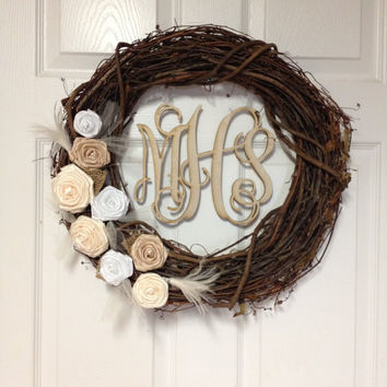 Wedding Monogram Wreath - Monogram Wreath - Wedding Wreath - Grapevine Wreath