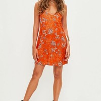 Missguided - Orange Floral Cami Shift Dress