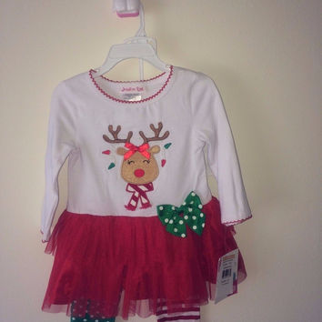 Jessica Ann Reindeer Outfit (Set): Top & Leggings - Toddler Girls 2T
