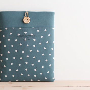 "13 inch Macbook Pro, Retina, Air case, 13"" Custom Laptop Laptop sleeve / Polka Dot Teal Blue"