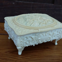 Vintage Celluloid Footed Victorian Trinket Box With Red Velvet Lining Perfect for Jewelry Storage Gift Giving Proposal