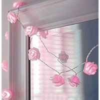 Zking 20 LED Battery Operated String Flower Rose Fairy Light Wedding Room Garden Christmas Decor (pink)
