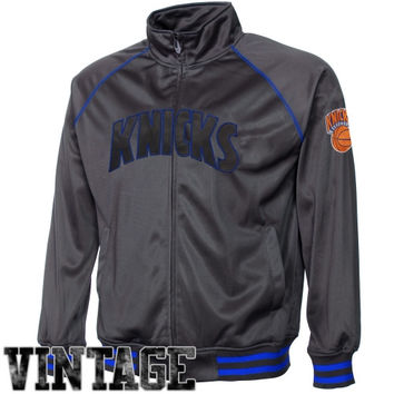 Majestic New York Knicks Youth Pop Poly Full Zip Track Jacket - Charcoal - http://www.shareasale.com/m-pr.cfm?merchantID=7124&userID=1042934&productID=521883505 / New York Knicks