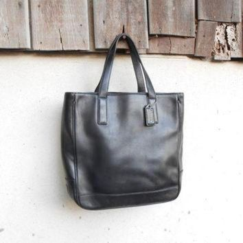 ONETOW Vintage Leather Bag COACH No.GOS-7787 Black Leather Tote Hand Bag / Small / Gift for H
