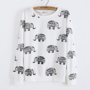 Cute Animal Elephant Printed Hoodies Sweatshirt