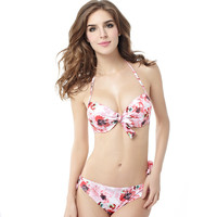 Beach Holiday Floral Print Bandage Swimwear Swimsuit Push Up Bikini Set