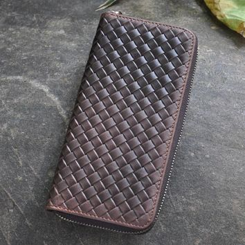 vintage handmade weave genuine leather long wallet cool gift 34 2