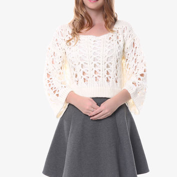 Retro Open Weave White Sweater