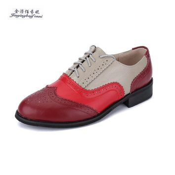 Size 32-47 New 2019 Vintage Genuine Leather Flats Womens Spring Autumn Lace Up Casual Thick Heel Brogues Shoe Woman Oxford Shoes
