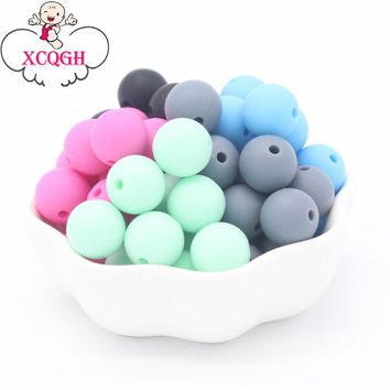 XCQGH 100Pcs Round Bead Silicone Teething Beads 12mm Baby Teether Toys DIY Bpa Free Teethers Beads Nurse Necklace 5Colors