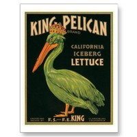 King Pelican Lettuce Vintage Crate Label Post Card from Zazzle.com