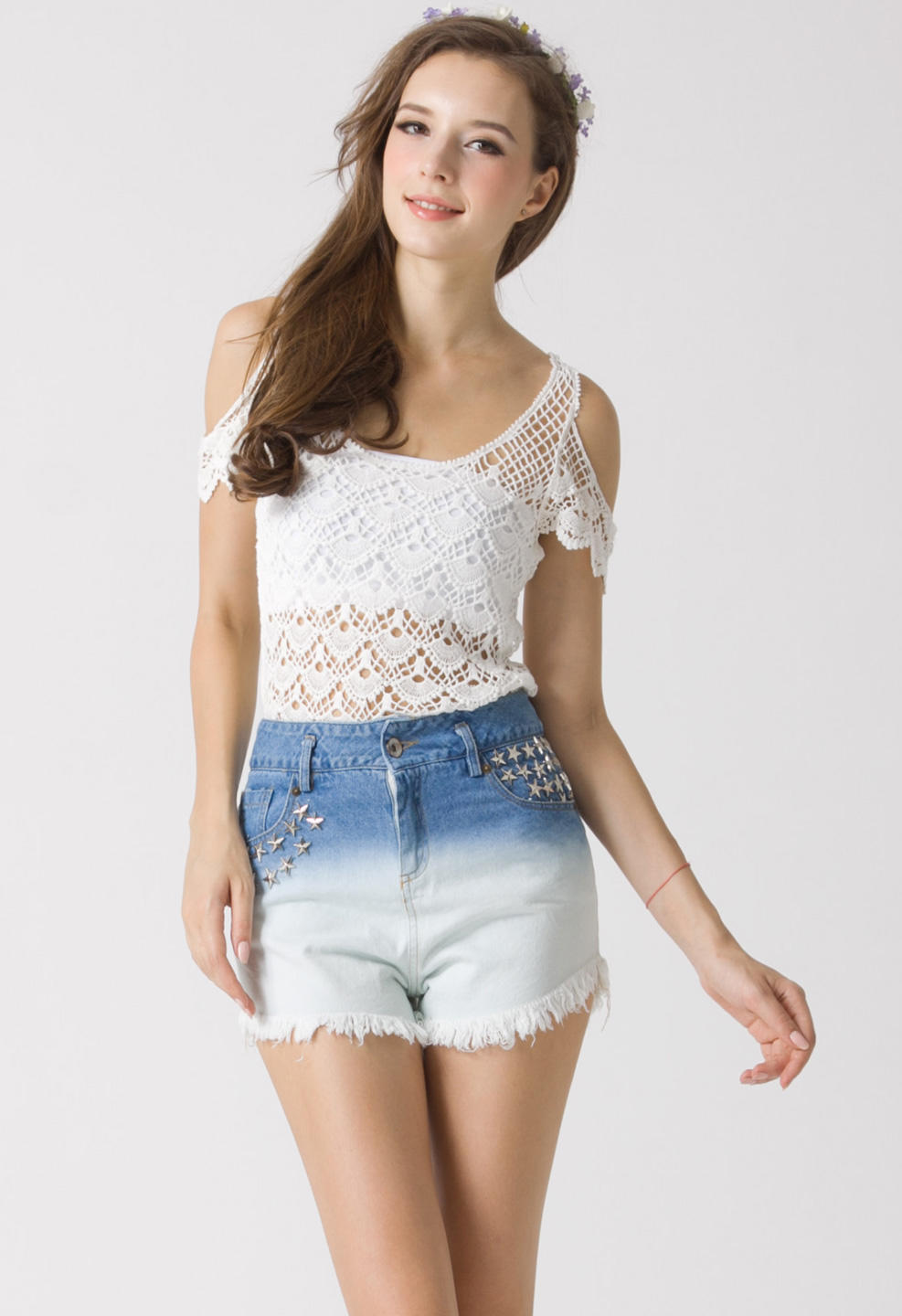 Crochet Cut Off Top White Onesize