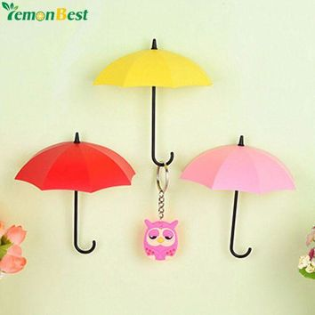 VONFC9 3pcs/lot Umbrella Shaped Creative Key Hanger Rack Home Decorative Holder Wall Hook For Kitchen Organizer Bathroom Accessories