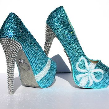 Tiffany Blue Wedding Shoes with pearl bows and crystal heels