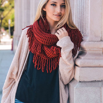 Lattice Tassel Infinity Scarf (several color options)