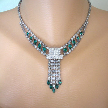 Emerald Bridal Set, Great Gatsby Jewelry, Art Deco Style, Green Wedding Choker, Emerald Green Necklace, Diamante Choker, Bridal Jewelry