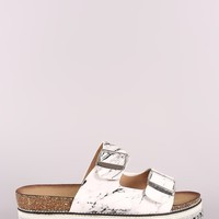 Qupid Marble-Effect Buckled Footbed Flatform Sandals