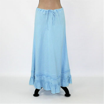 90s Light Blue Skirt Women Maxi Skirt Long Linen Skirt Hippie Boho Skirt Ruffle Drawstring Hippie Clothes Vintage Clothing Womens Clothing