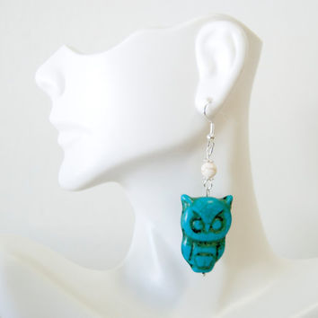 Handmade Silver Plated Hypo-Allergenic Dangle Bead Earrings Owls Lovers Turquoise Hippie