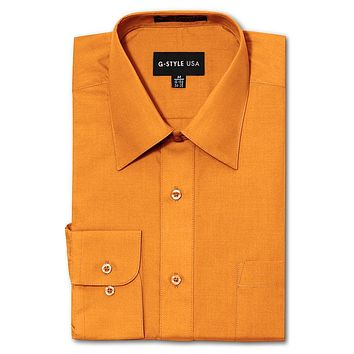 Men's Basic Solid Color Button Up Dress Shirt (Orange)