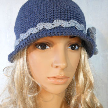 Crochet Brimmed Cloche Hat Flapper Classic Women Ladys Teens Elegant 192O Indigo Blue Pure Sheep Wool Poppy Flower Vintage Romantic Style