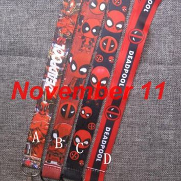 Lot mixed 50Pcs cartoon Deadpool Neck Strap Lanyard For ID Badge Cell Phone Key chain party Gift SM580